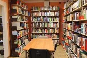 Pomieszczenie z księgozbiorem popularno - naukowym, mini czytelnia
