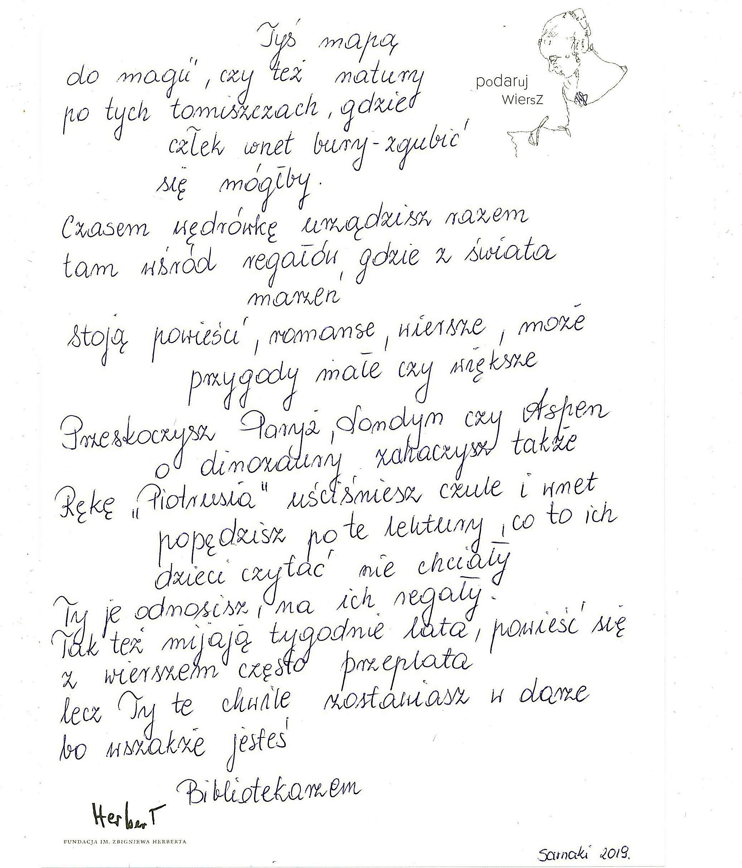 Wiersz Dla Bibliotekarza Biblioteka W Sarnakach Wiersz Dla